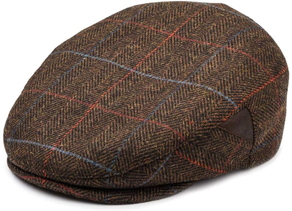 Mens Brown Newsboy Cap - front view