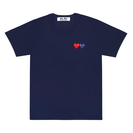 Play Comme des Garçons T-Shirt with Double Heart (Navy)