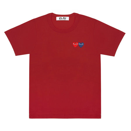 Play Comme des Garçons T-Shirt with Double Heart (Burgundy)