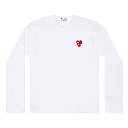 Play Comme des Garçons Longsleeve T-Shirt with Double Red Heart (White)