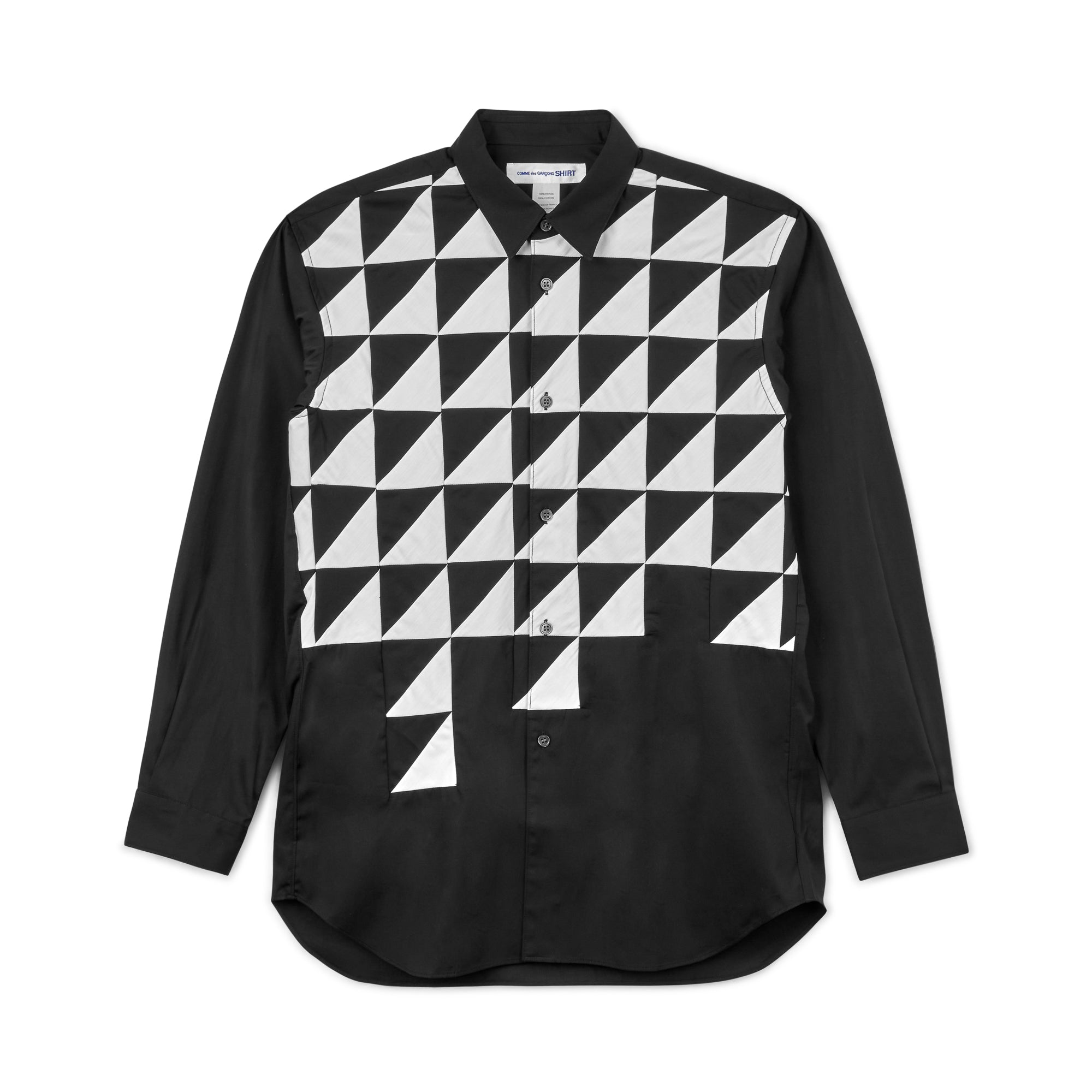 CDG Shirt Structured Long Sleeve Shirt (Black/White)
