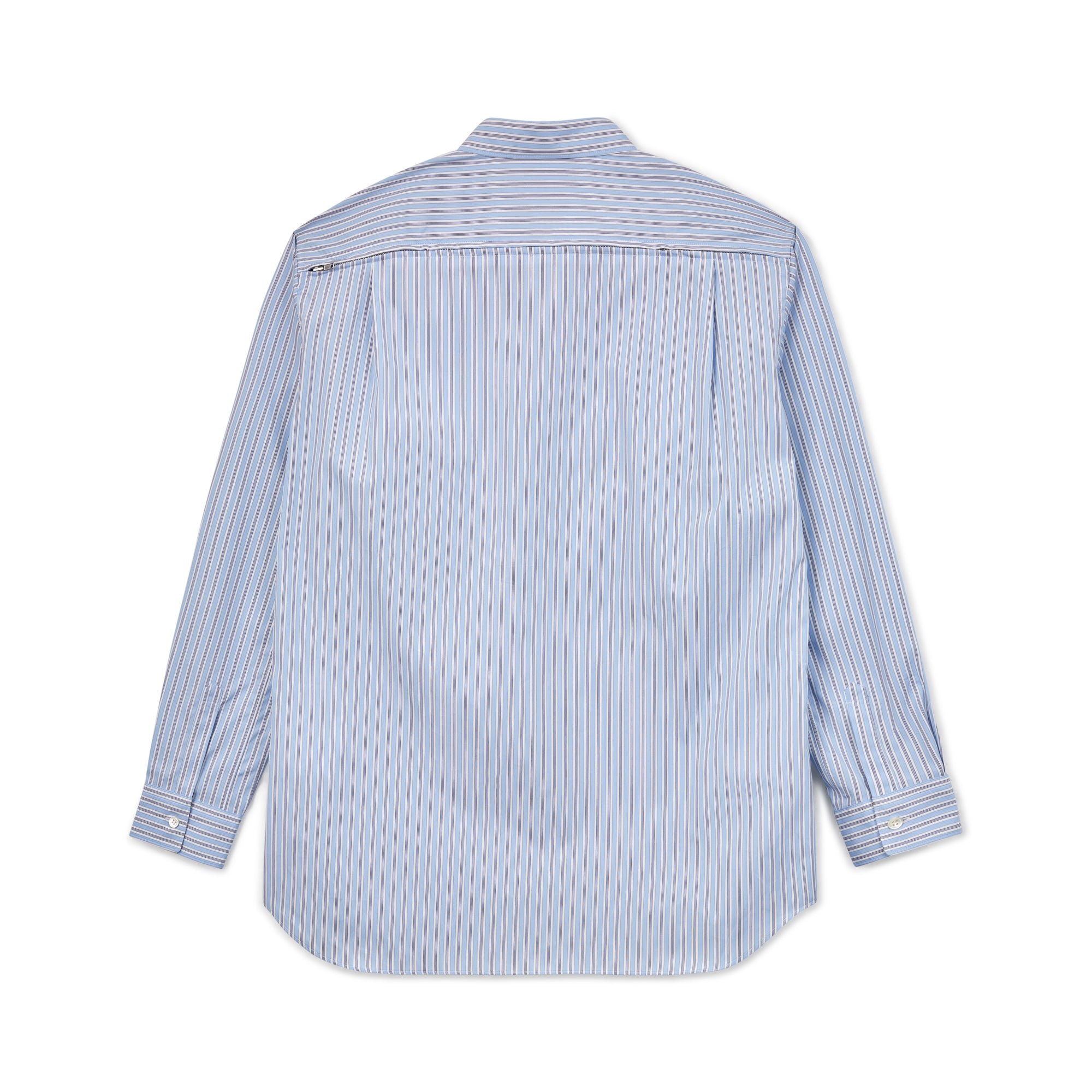 CDG Shirt Zipper Long Sleeve Shirt (Blue/Stripe)