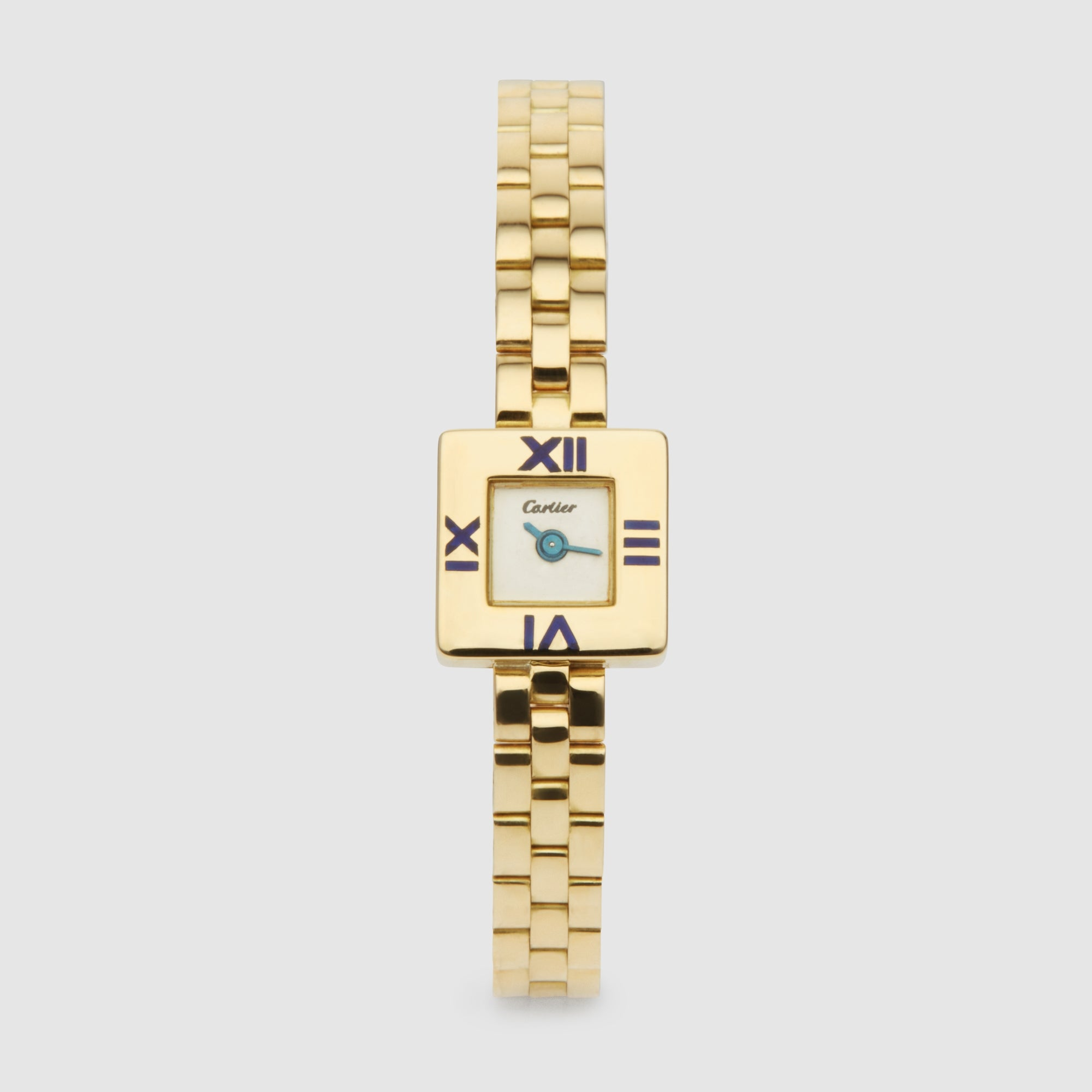 Harry Fane Cartier Lady's Blue Enamel And Gold Bracelet Wristwatch