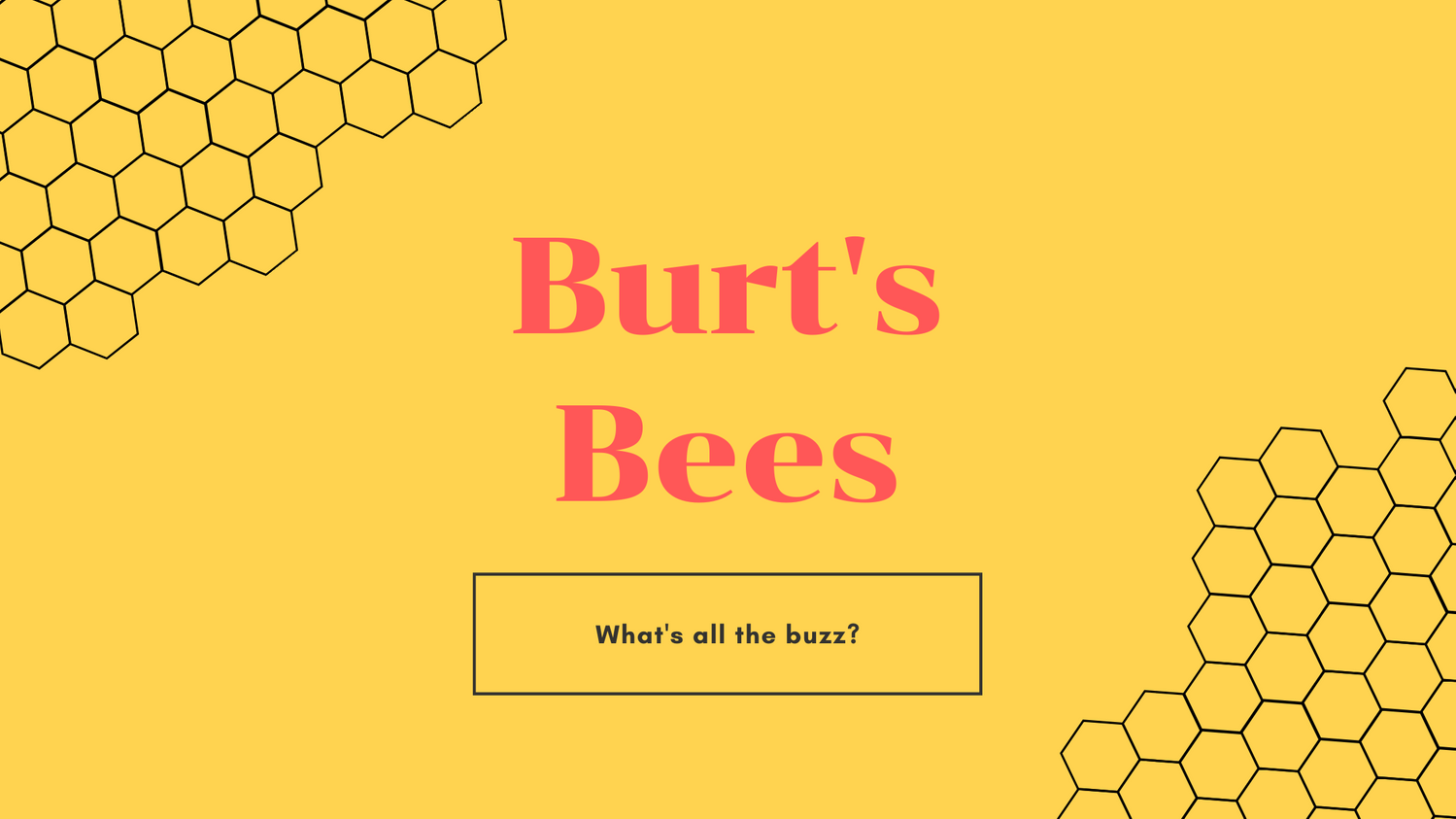 """Title Image, Yellow with the words """"Burt's Bee's"""""""