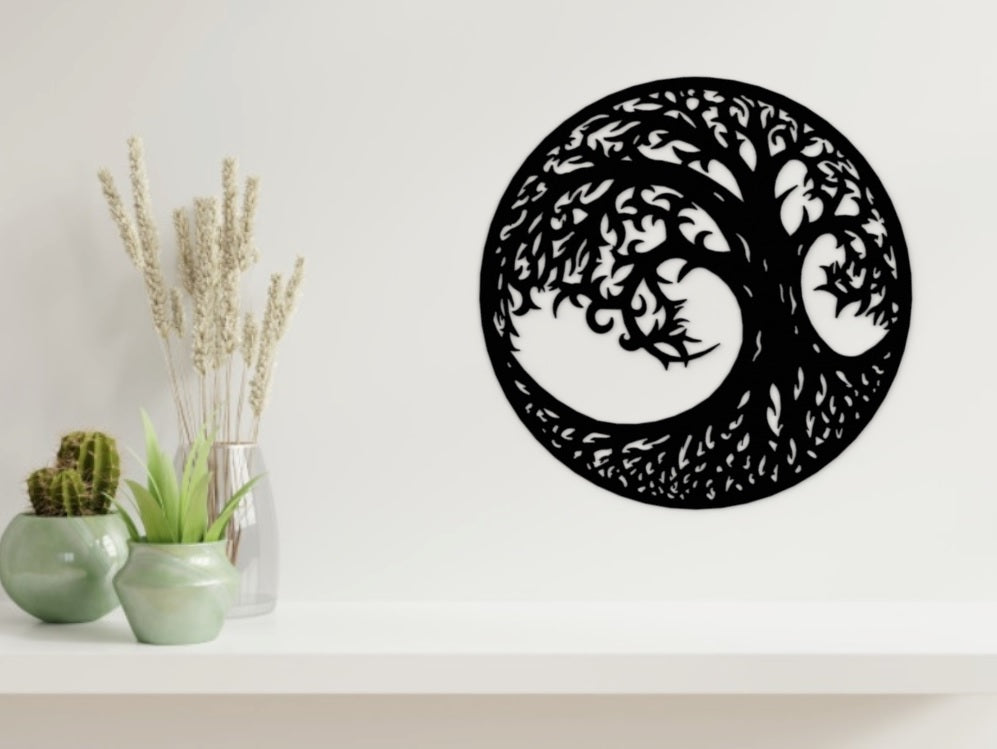 Tree of Life 2 Wall Art in Black from Monea Metal Design