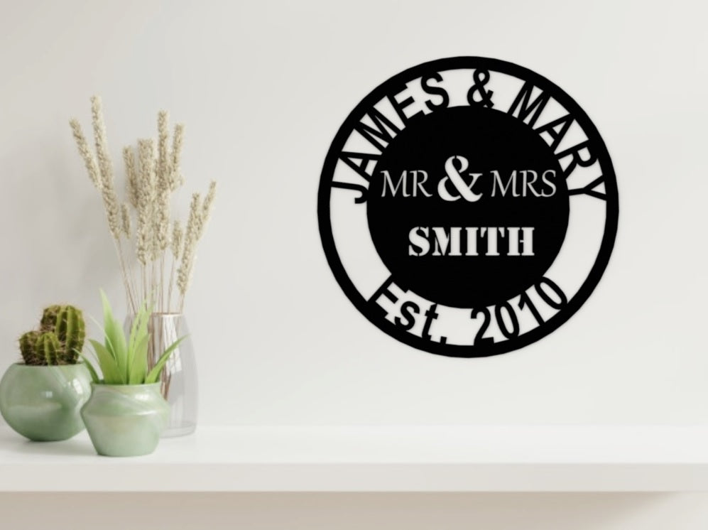 Wedding/Anniversary Design - MR & MRS in Black - from Monea Metal Design