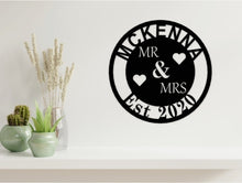 Load image into Gallery viewer, Wedding/Anniversary Design - MR & MRS with Surname in Black from Monea Metal Design