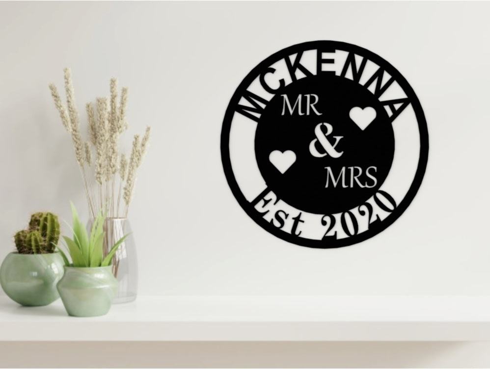 Wedding/Anniversary Design - MR & MRS with Surname in Black from Monea Metal Design