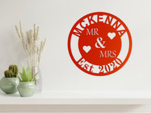 Load image into Gallery viewer, Wedding/Anniversary Design - MR & MRS with Surname in Copper from Monea Metal Design