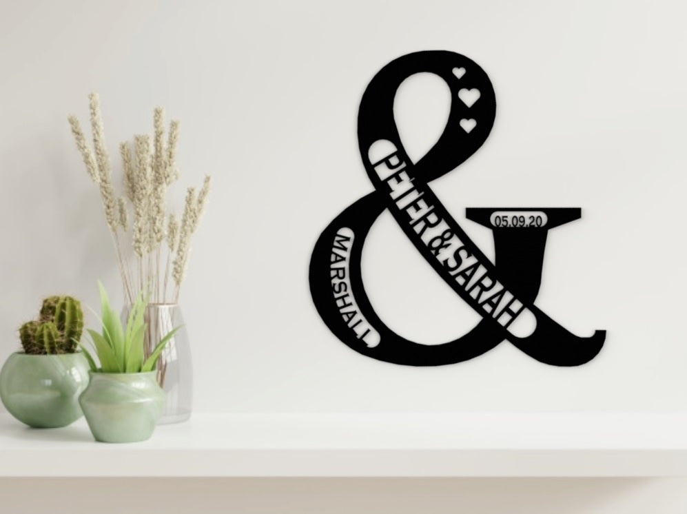 Monea Wedding/Engagement Sign & Design in Black - from Monea Metal Design