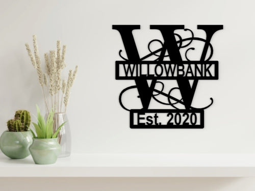 Letter Monogram Wall Art with Established Date in Black - from Monea Metal Design