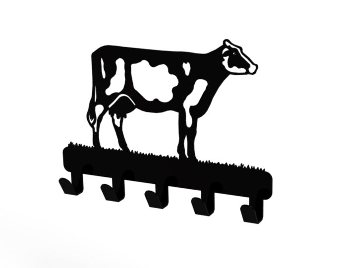 Dairy Cow Design Coat or Key Hook in Black from Monea Metal Design