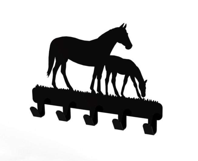 Horse and Foal Design Coat or Key Hook in Black from Monea Metal Design