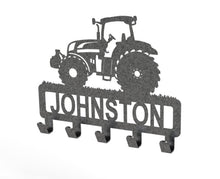 Load image into Gallery viewer, Tractor Design Coat or Key Hook customised with name in Black Speckle Grey - from Monea Metal Design