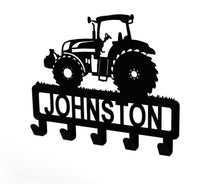 Load image into Gallery viewer, Tractor Design Coat or Key Hook customised with name in Black - from Monea Metal Design