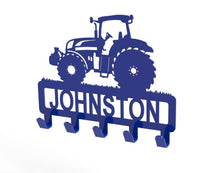 Load image into Gallery viewer, Tractor Design Coat or Key Hook customised with name in Blue - from Monea Metal Design