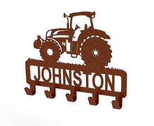 Load image into Gallery viewer, Tractor Design Coat or Key Hook customised with name in Copper - from Monea Metal Design