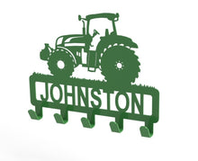 Load image into Gallery viewer, Tractor Design Coat or Key Hook customised with name in Green - from Monea Metal Design