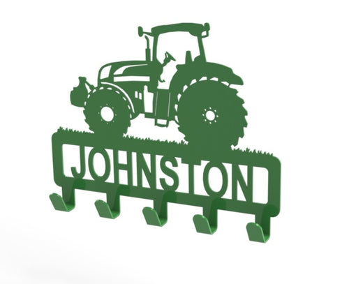 Tractor Design Coat or Key Hook customised with name in Green - from Monea Metal Design