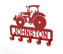 Load image into Gallery viewer, Tractor Design Coat or Key Hook customised with name in Red - from Monea Metal Design