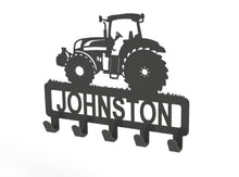 Load image into Gallery viewer, Tractor Design Coat or Key Hook customised with name in Silver - from Monea Metal Design