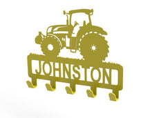 Load image into Gallery viewer, Tractor Design Coat or Key Hook customised with name in Yellow - from Monea Metal Design