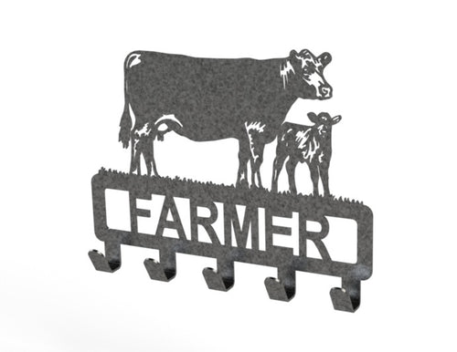 Customised Cow and Calf Design Coat or Key Hook in Grey Speckle Black from Monea Metal Design