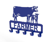Load image into Gallery viewer, Customised Cow and Calf Design Coat or Key Hook in Blue from Monea Metal Design