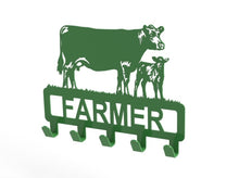 Load image into Gallery viewer, Customised Cow and Calf Design Coat or Key Hook in Green from Monea Metal Design