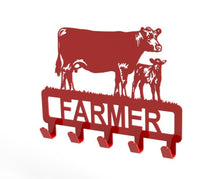 Load image into Gallery viewer, Customised Cow and Calf Design Coat or Key Hook in Red from Monea Metal Design