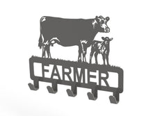 Load image into Gallery viewer, Customised Cow and Calf Design Coat or Key Hook in Silver from Monea Metal Design