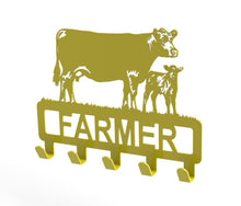 Load image into Gallery viewer, Customised Cow and Calf Design Coat or Key Hook in Yellow from Monea Metal Design