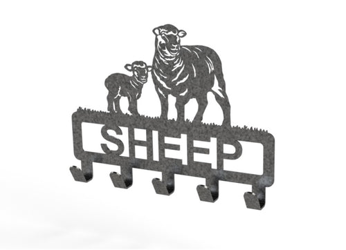 Customised Sheep Design Coat or Key Hook in Black Speckle Silver from Monea Metal Design