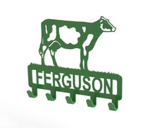 Load image into Gallery viewer, Customised Dairy Cow Design Coat or Key Hook in Green from Monea Metal Design
