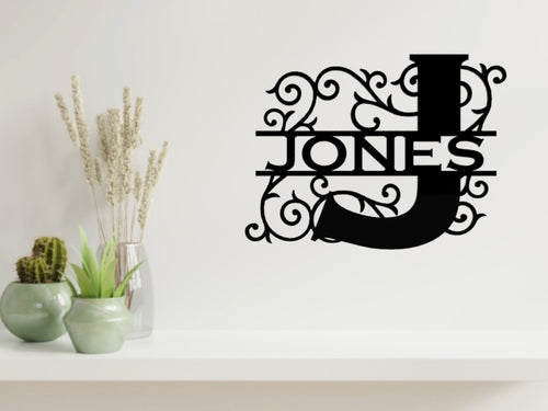 Letter Monogram 2 Wall Art in Black - from Monea Metal Design