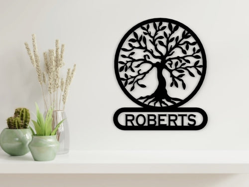 Tree of Life - Bottom Name in Black - from Monea Metal Design