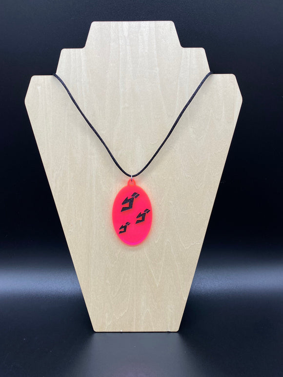 Menacing Japanese Symbol Acrylic Pendant Necklace UV Reactive