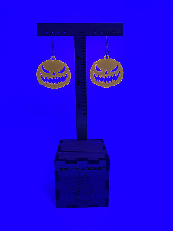 Halloween Earrings Jack-O-Lantern Pumpkin Dangle UV Reactive