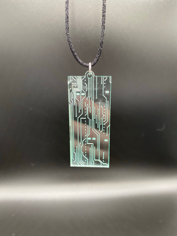 Cyberpunk Necklace Circuit Board Markings Post-apocalyptic