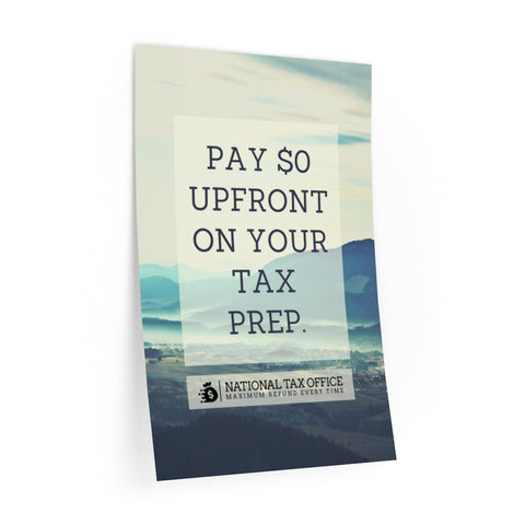 PAY $0 UPFRONT ON YOUR TAX PREP (WALL DECAL)