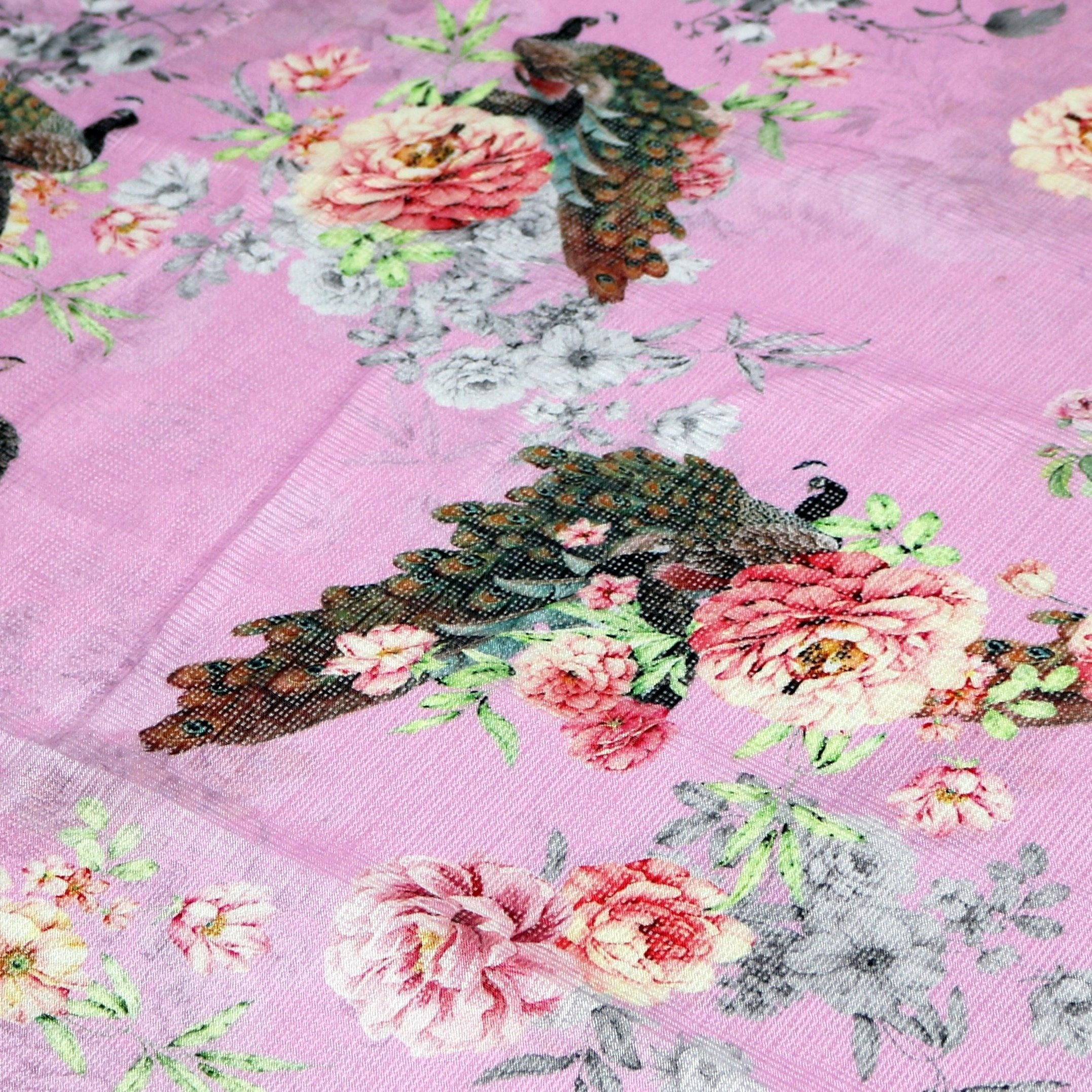 Pink Peacock Floral Digital Printed Kota Doria Fabric - Wholesale FAB VOGUE