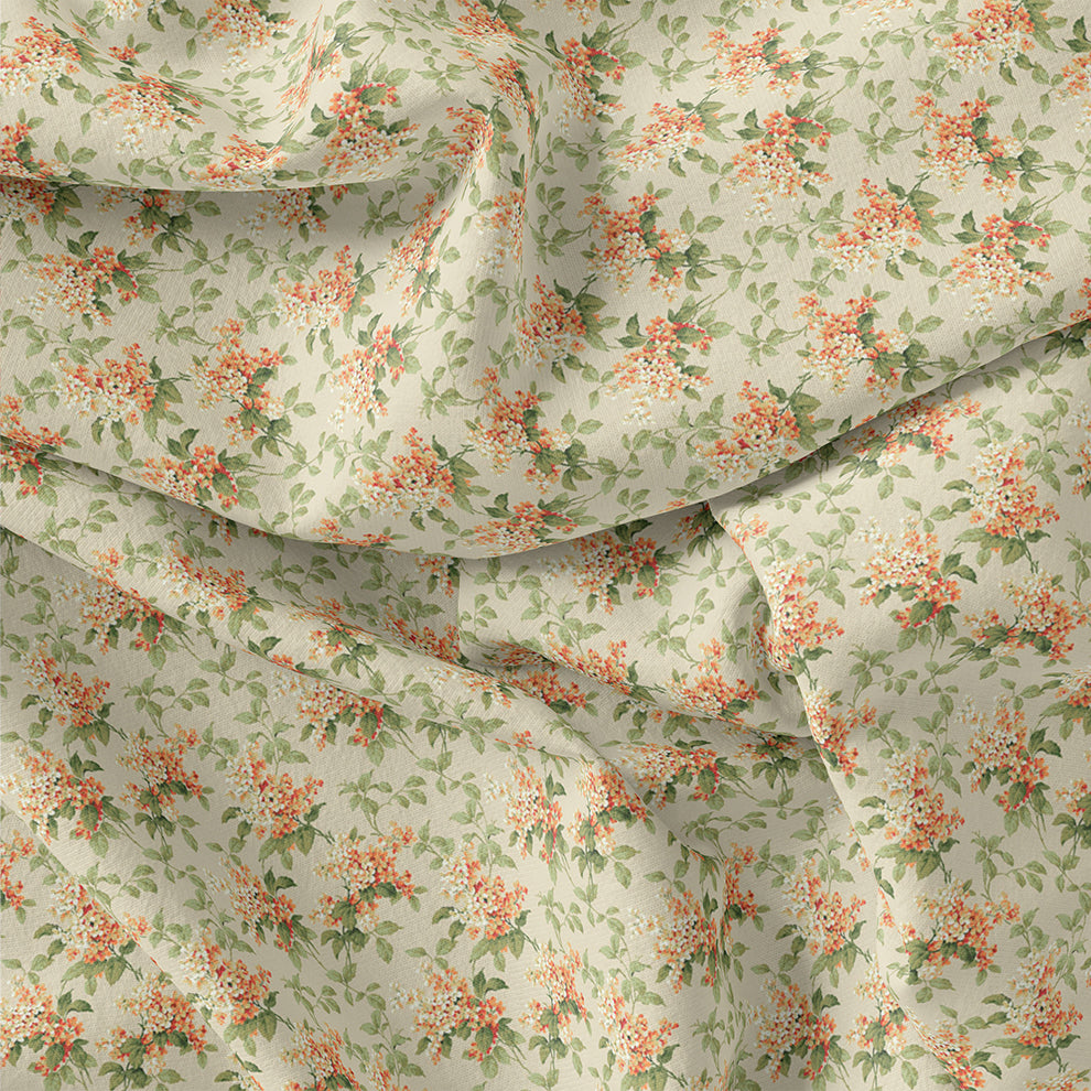 Painted Orange Flower Chintz Digital Printed Fabric