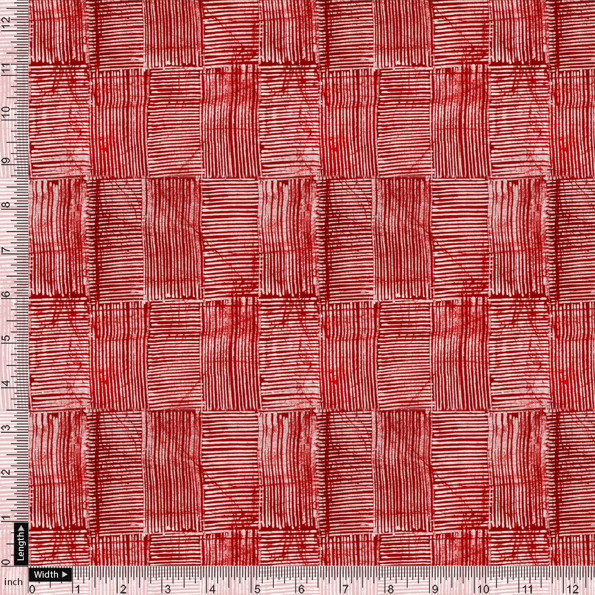Checkes Textured Red And White Digital Printed Fabric