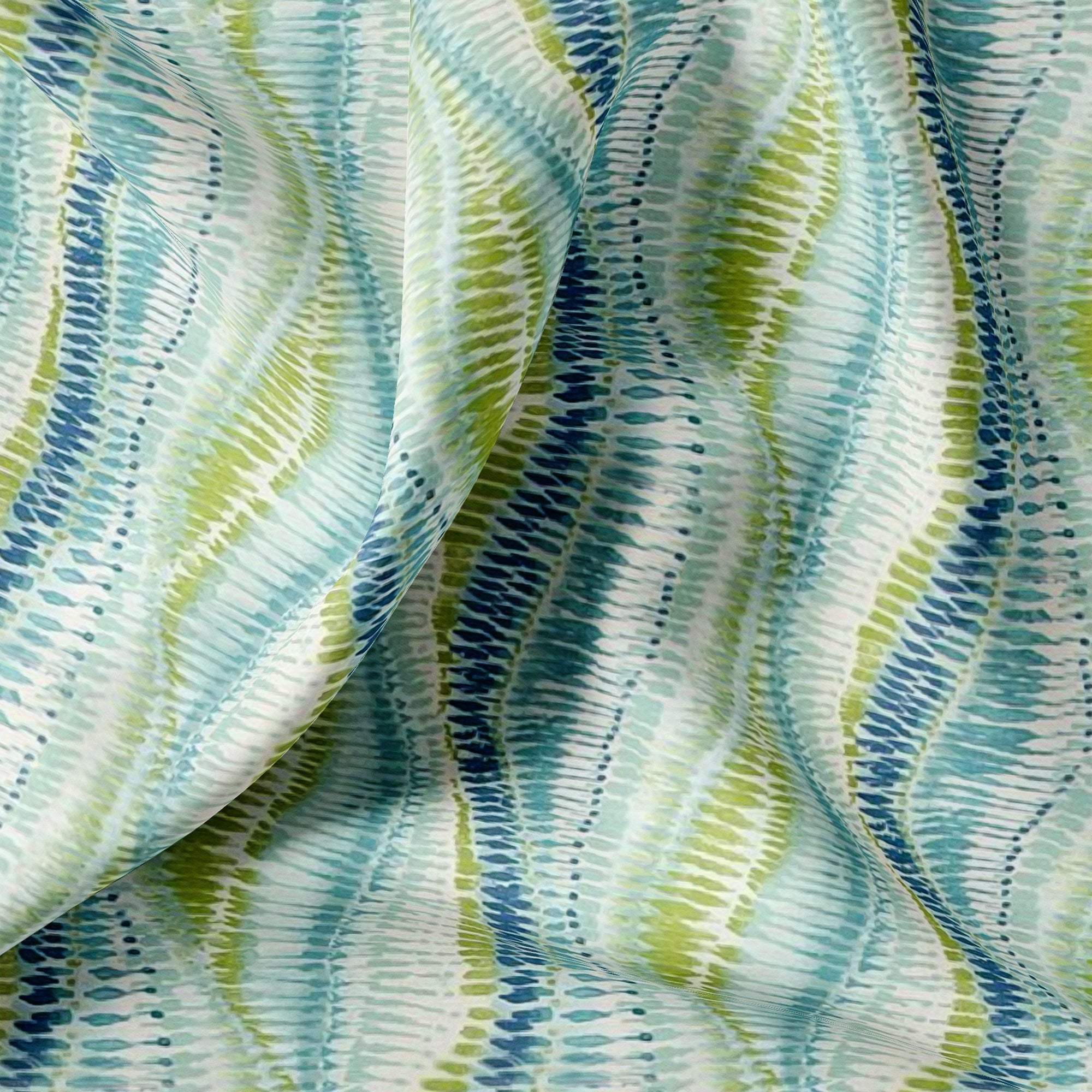 Green and Blue Leheriya Digital Printed Fabric - Wholesale FAB VOGUE