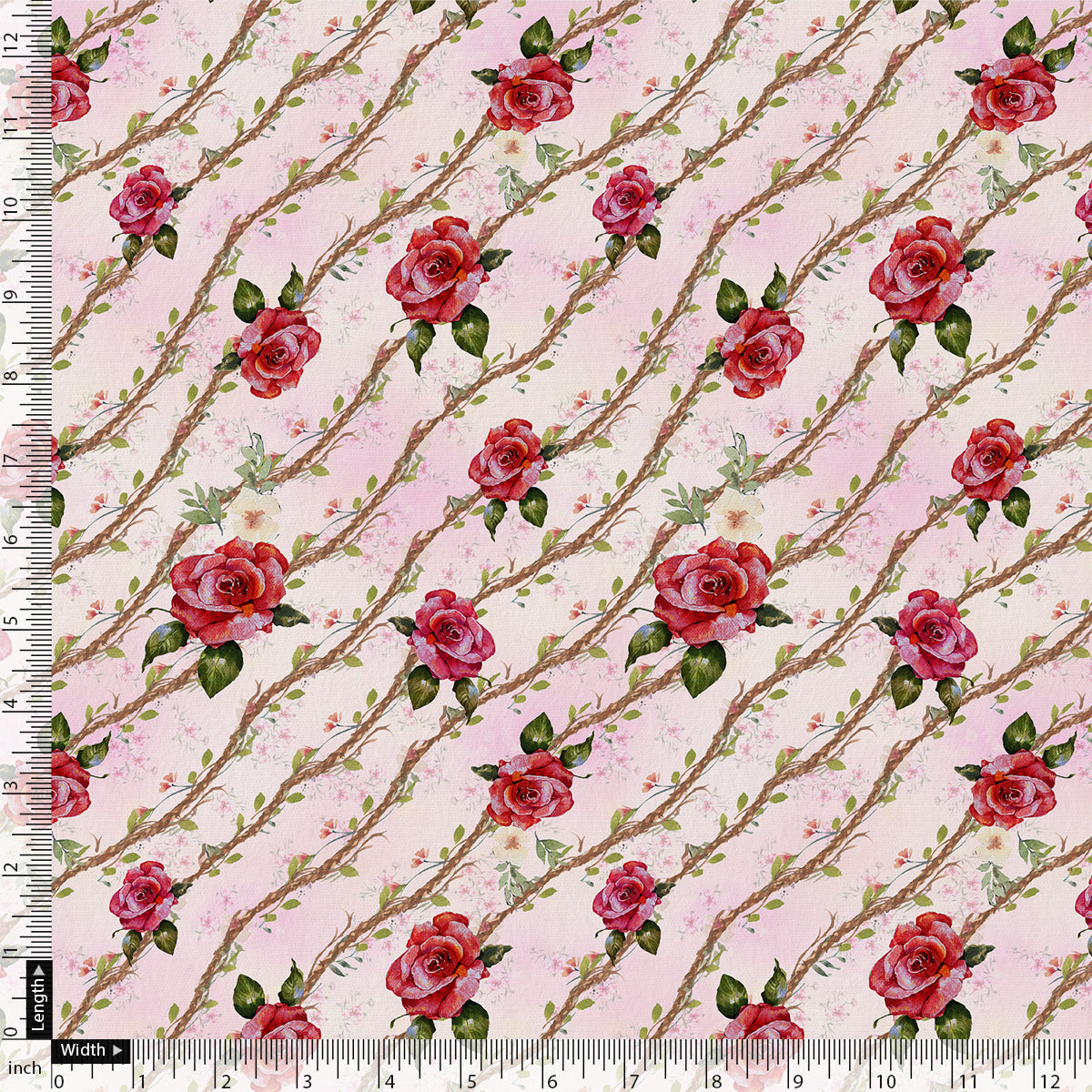 Autumnal Red Roses With Leaves Digital Printed Fabric