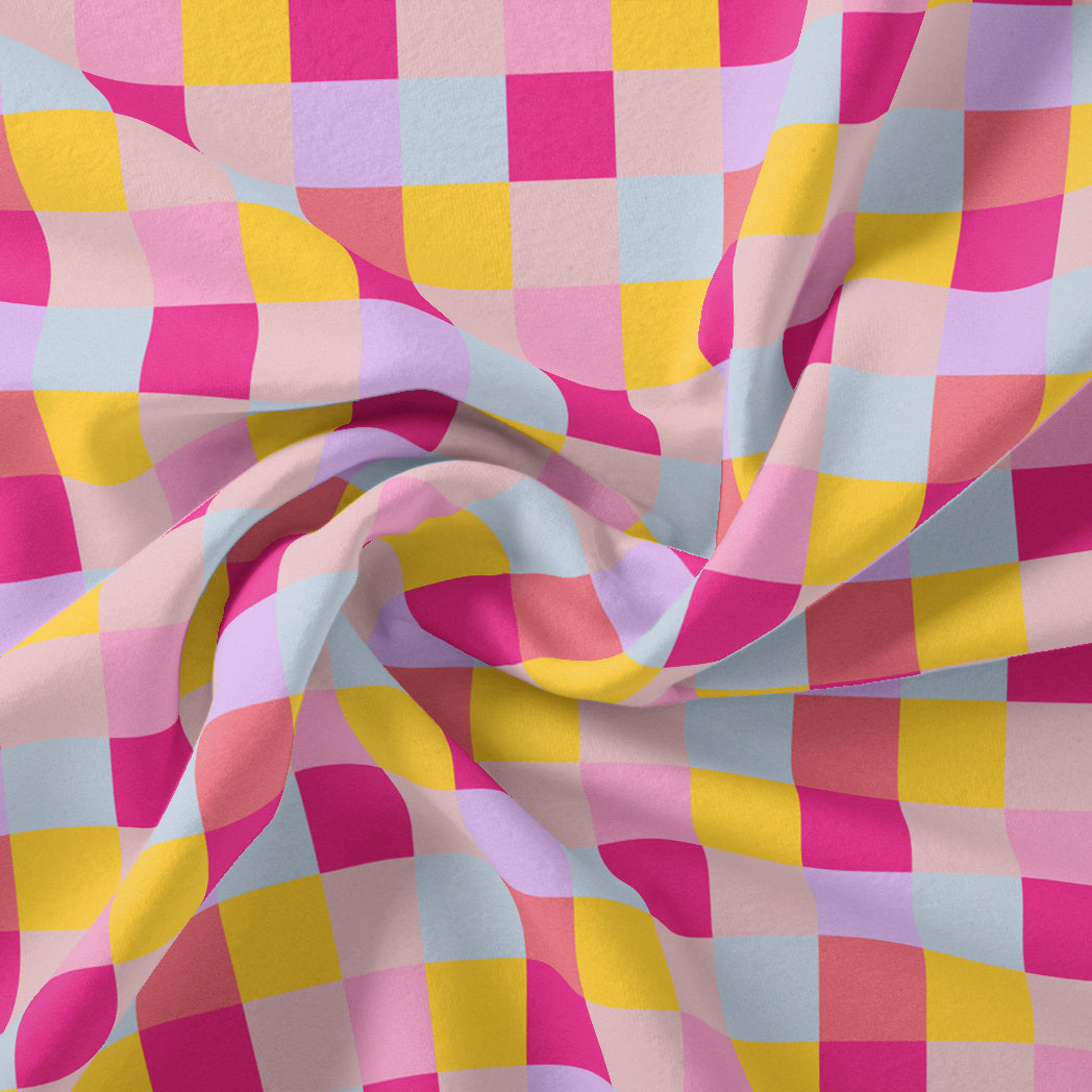 Buffalo Checks Pink And Yellow Digital Printed Fabric