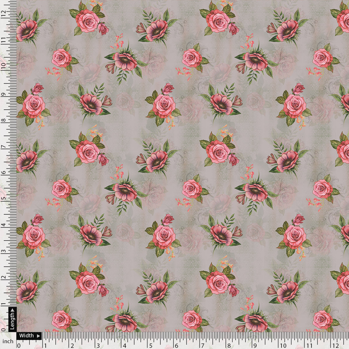 Pink Buttercup Flower Bunch Digital Printed Fabric