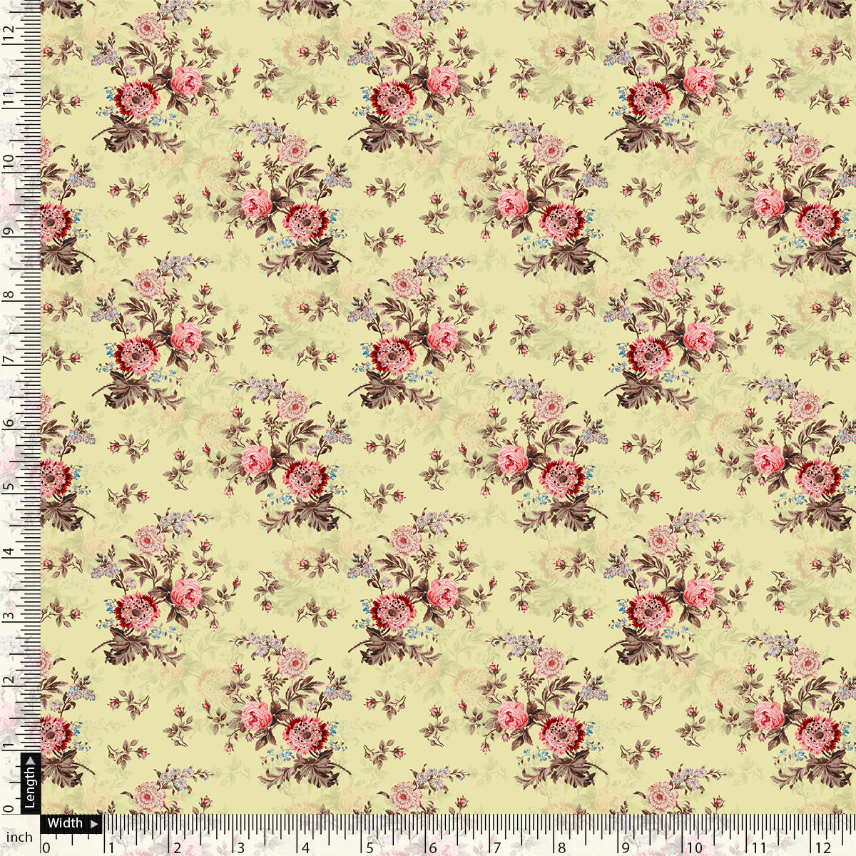 Chrysanthemum And Roses Bunch Digital Printed Fabric