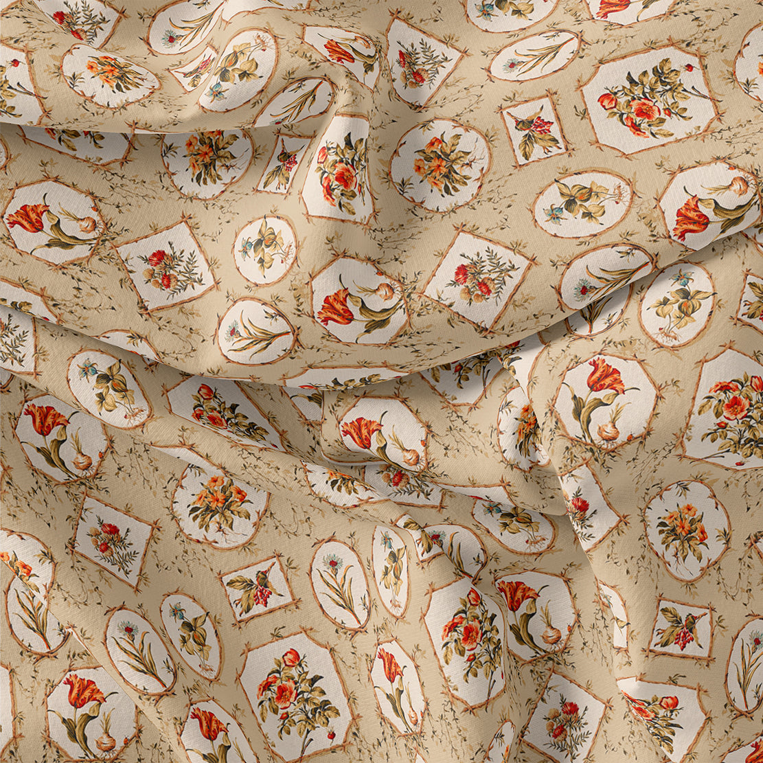 Attractive Floral Shape Valley Digital Printed Fabric