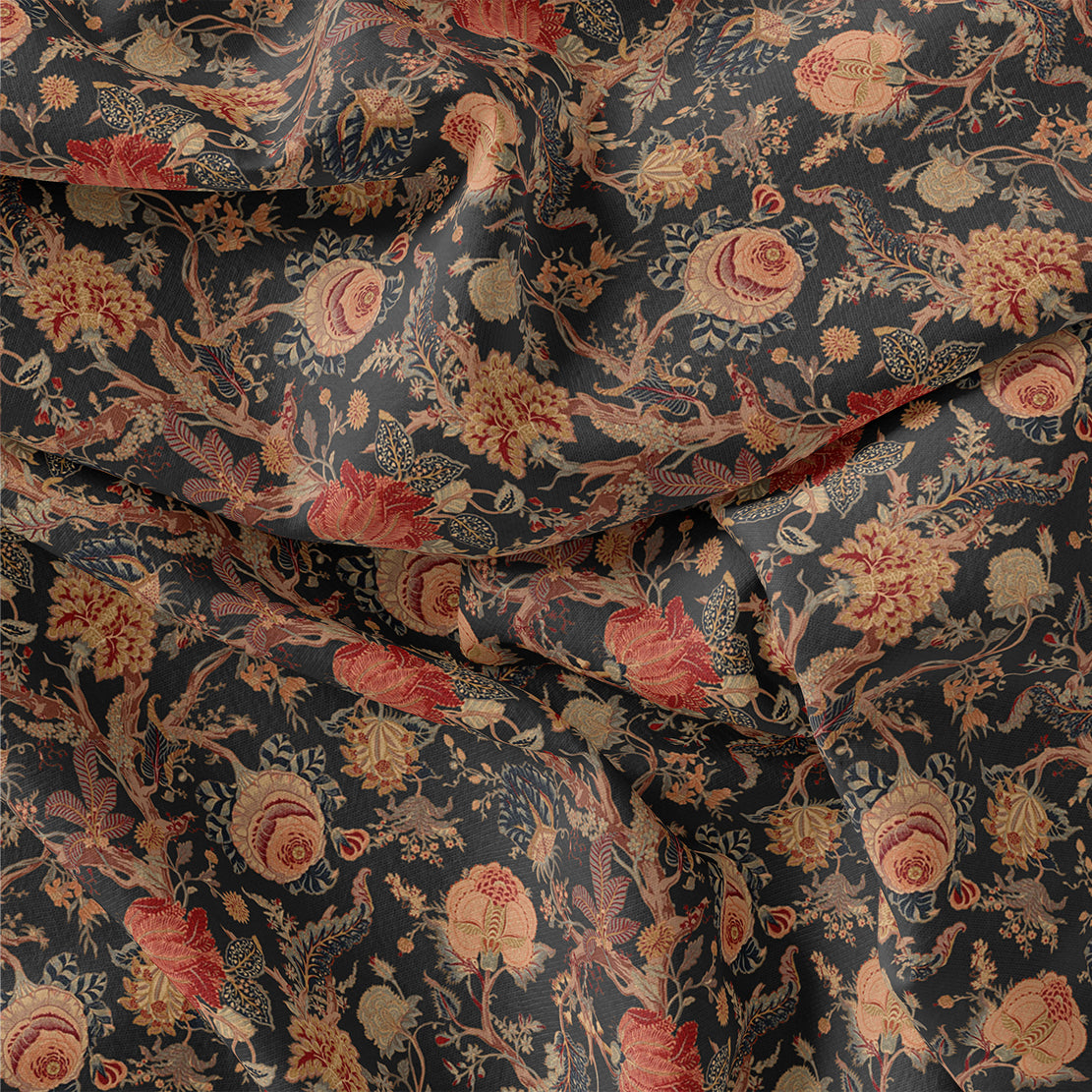Japanese Chinoiserie Natural Digital Printed Fabric